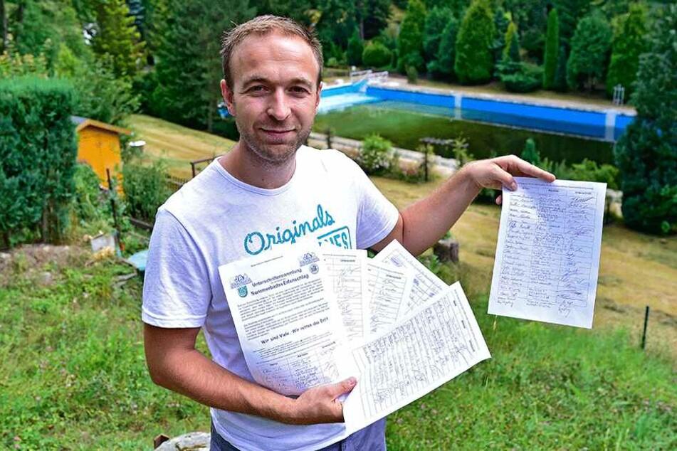Seit 2015 setzen sich Felix Kreißel (31) und der Bürgerverein Chemnitz-Erfenschlag für den Erhalt des Freibads ein.