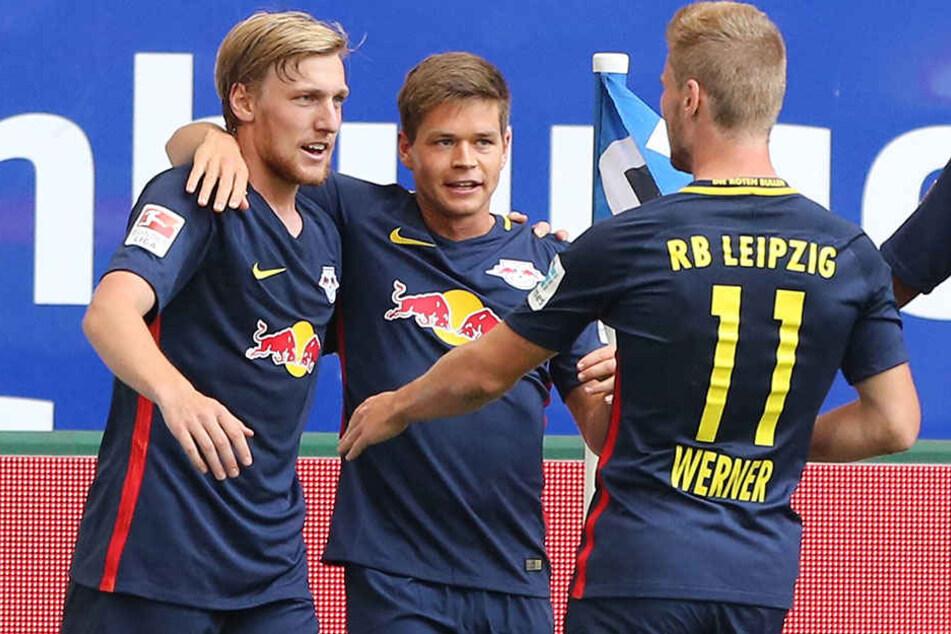 Forsberg, Kaiser und Werner (v.l. nach rechts) bejubeln einen RB-Treffer.