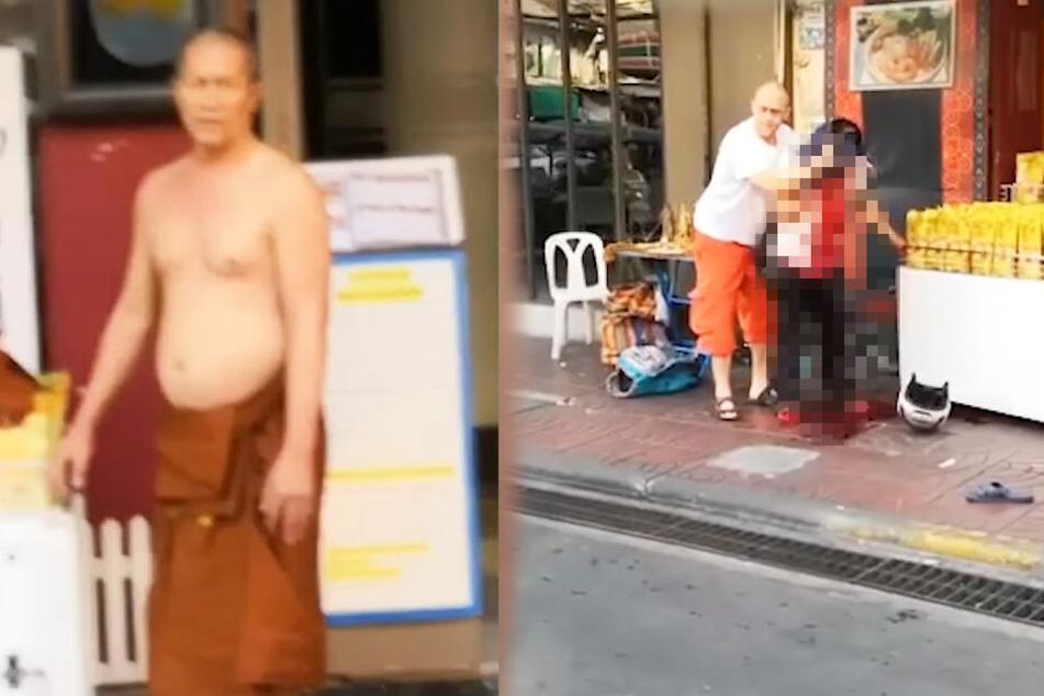 Mönch sticht Straßenhändler in Kopf und Nacken, weil er beweisen will, dass er Unrecht hat
