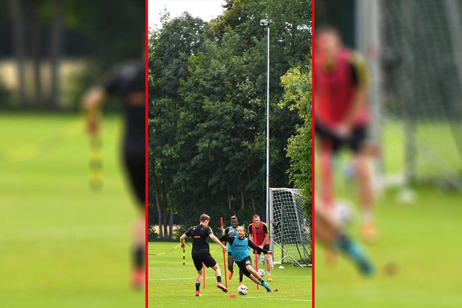 Aus luftiger Höhe wird das Stellungsspiel der Spieler beim Training gefilmt. Taktik und Spielanalyse sollen dadurch verbessert werden.