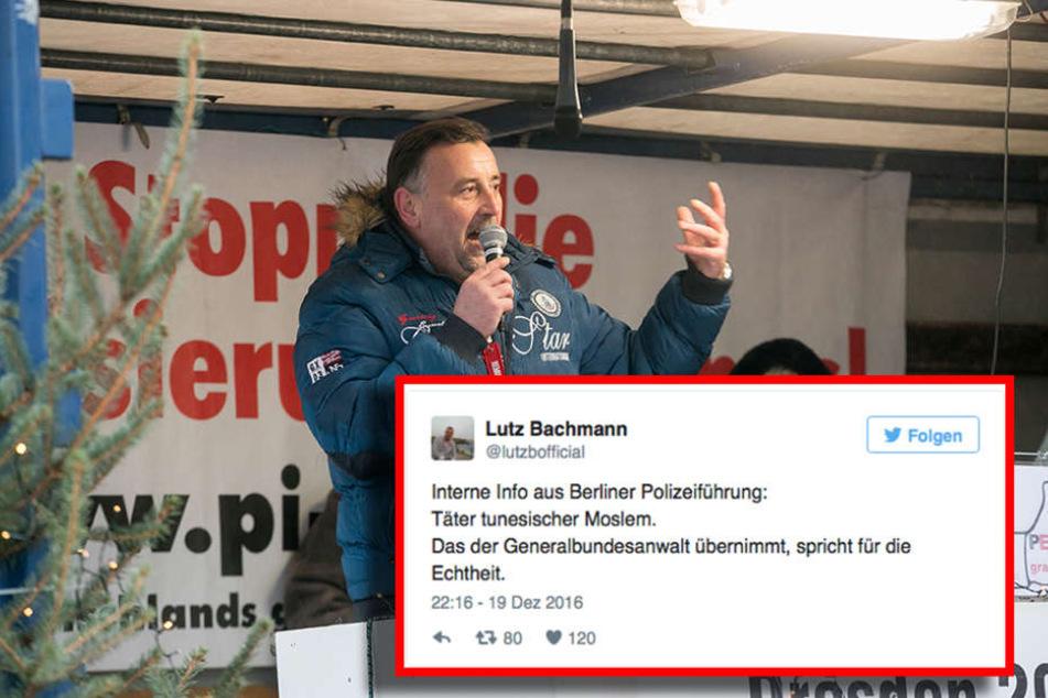 Diesen Tweet setzte Bachmann bereits am Montag nur zwei Stunden nach dem Anschlag in Berlin ab.