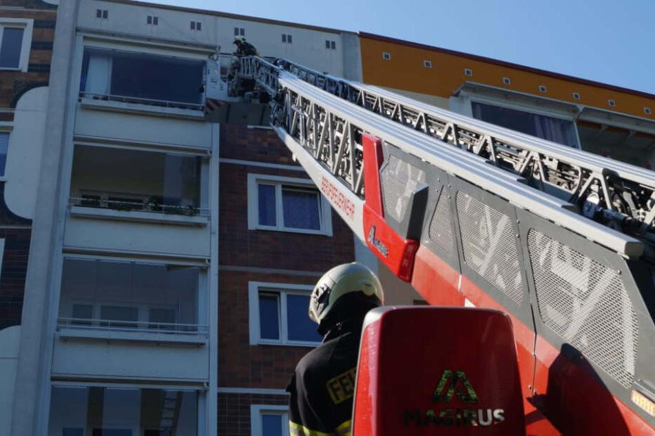 Mit einer Drehleiter ging es für einen Feuerwehrmann hoch hinaus.