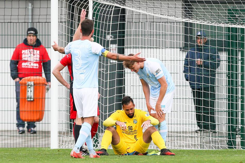 CFC-Torhüter Isa Dogan musste in der Partie gegen den FC Grimma nach einem heftigen Zusammenprall ins Krankenhaus.