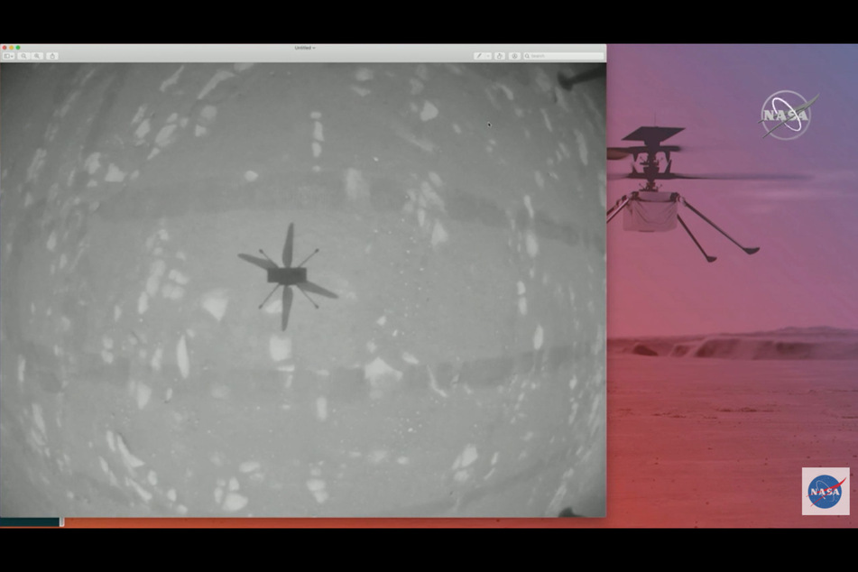 Footage showed the shadow of the helicopter in flight (l.). The Perseverance rover also captured images of the flight and landing (r.).