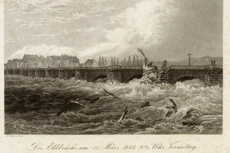 Die Augustusbrücke wurde zur Staumauer. Am 31. März gegen halb zehn brach der Mittelpfeiler und das Kruzifix stürzte in die Fluten.