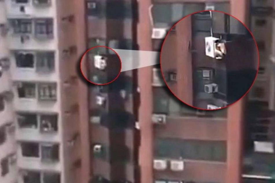 Im 8.Stock! Liebhaber versteckt sich hinter Klimaanlage