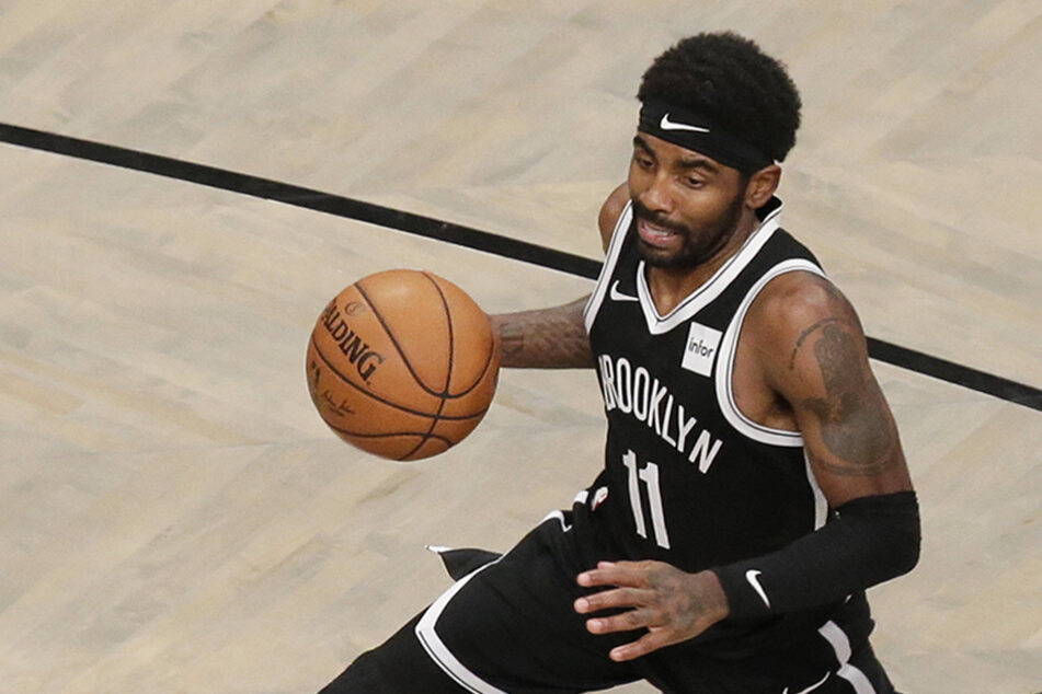 Kyrie Irving drives to the basket in a game against the Indiana Pacers at the Barclays Center on October 30, 2019.
