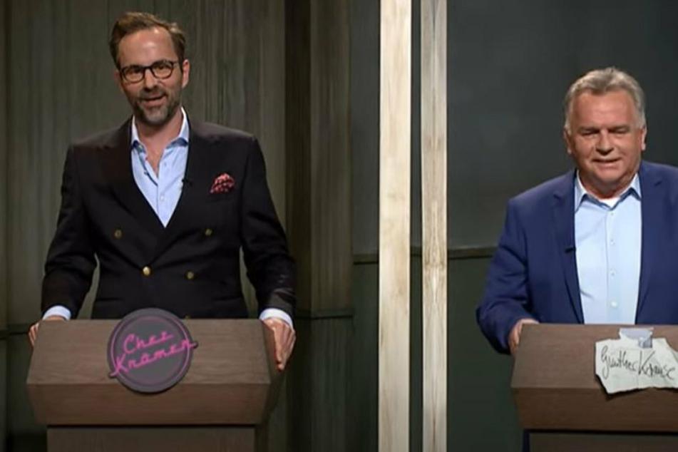 """Kurt Krömer (45, l.) und Günther Krause (67) bei """"Chez Krömer""""."""
