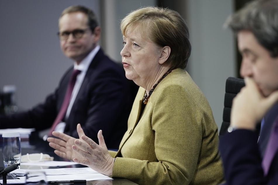 Bundeskanzlerin Angela Merkel (66, CDU) bei der Bekanntgabe der neuen Maßnahmen im Kampf gegen das Coronavirus.