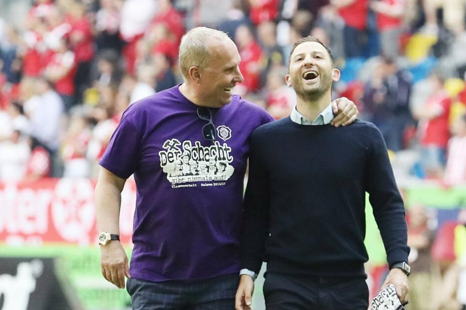 Seit Frühjahr 2017 dicke Freunde: FCE-Boss Helge Leonhardt (l.) und Ex-Trainer Domenico Tedesco, der inzwischen Spartak Moskau trainiert.