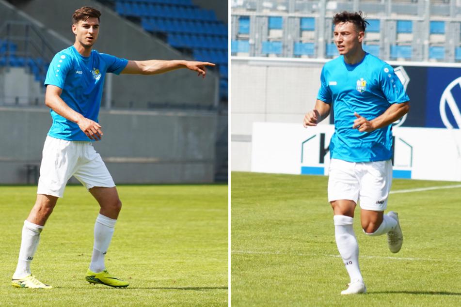 Danny Breitfelder (l.) und Nils Köhler (r.) haben einen Vertrag beim Chemnitzer FC unterschrieben.