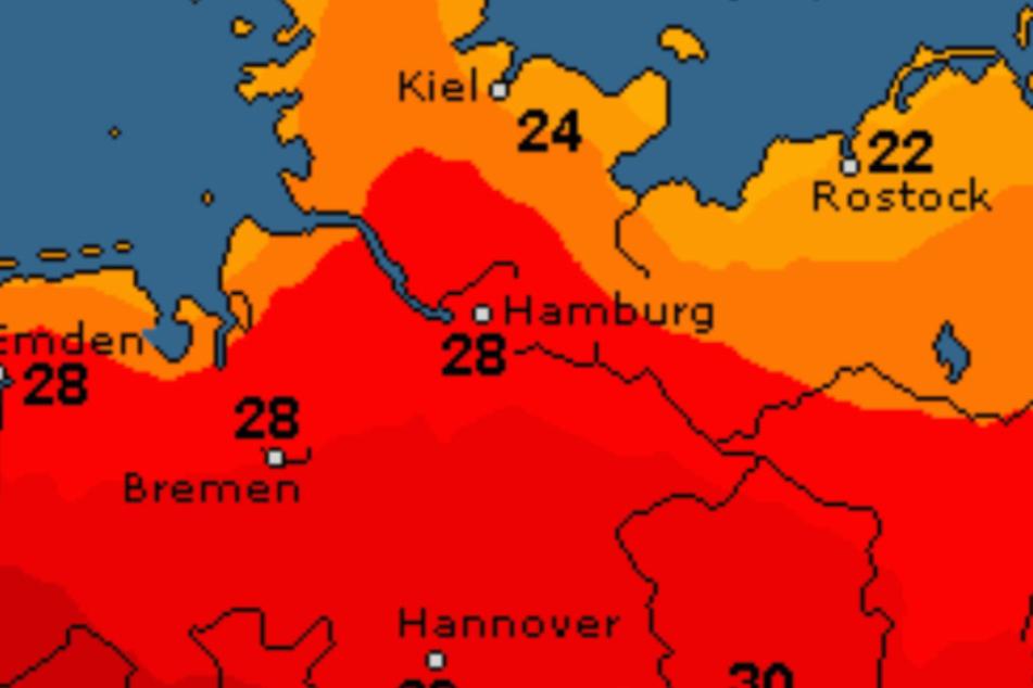 In Hamburg wird es bis zu 30 Grad heiß.