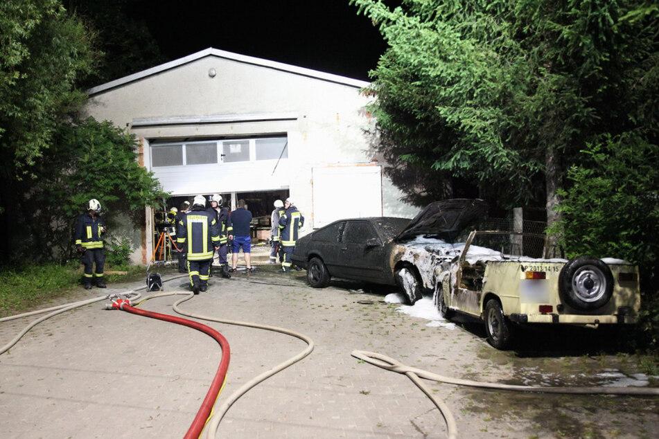 Durch den Brand wurden auch zwei Autos zerstört.
