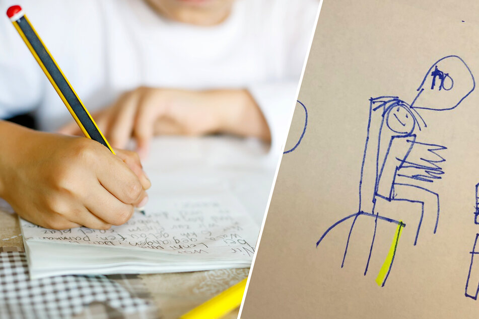 Junge malt seiner Mutter ein Bild und bringt sie damit zum Weinen