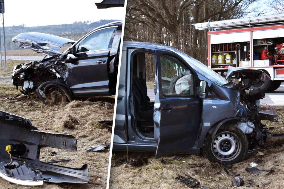Heftiger Frontal-Unfall bei Zittau fordert drei Verletzte