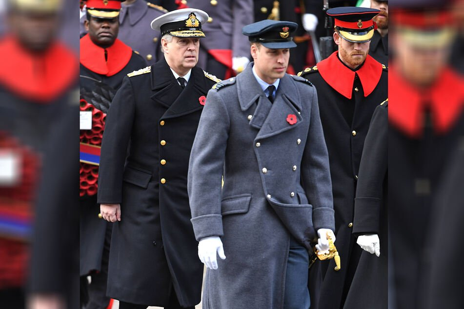 Prince Harry (r.) may be the only royal at Prince Philip's funeral not in uniform, as he relinquished his military honors when he stepped down from royal duties in February. Prince William (c.), Prince Andrew (l.)