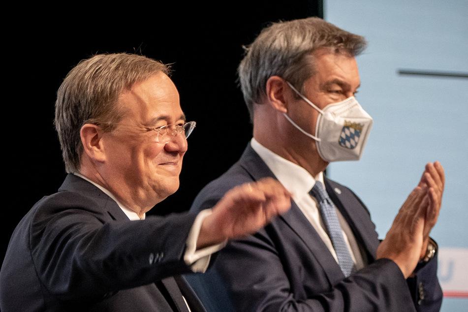 Kanzlerkandidat Laschet (60, l.) und CSU-Vorsitzender Markus Söder (54) sind auf Wahlkampf geeicht.