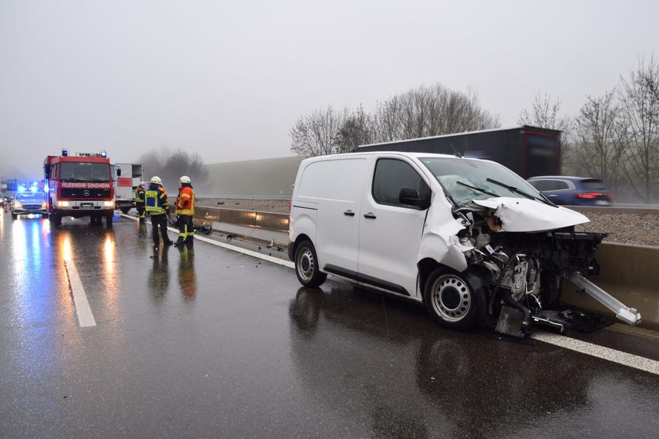 Kleinbus kracht auf der A6 auf Transporter: Frau schwer verletzt!