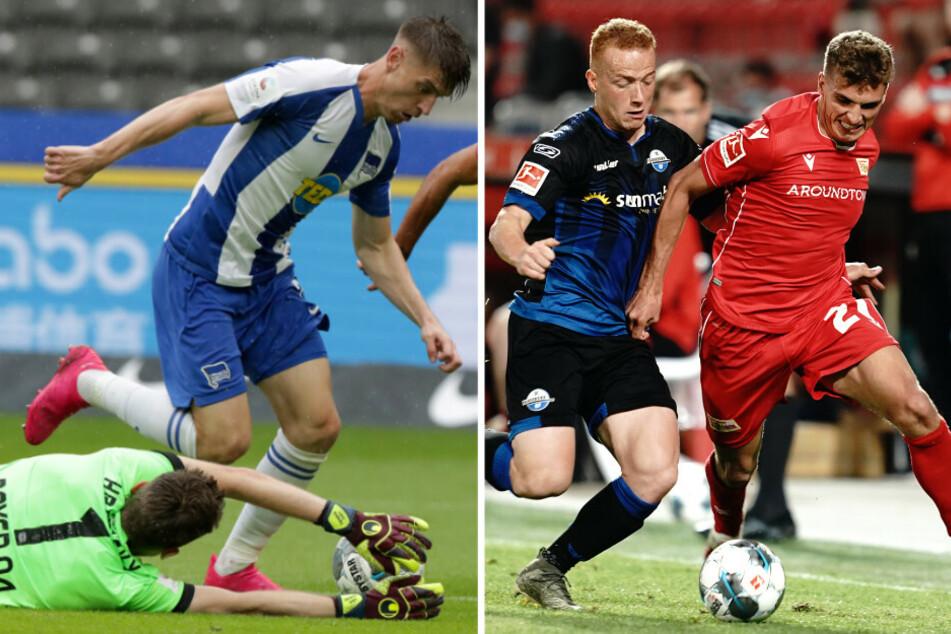 Hertha Krzysztof Piatek (l) umkurvt Leverkusen Lukas Hradecky. Unions Grischa Prömel (r) im Zweikampf mit Paderborns Sebastian Vasiliadis.