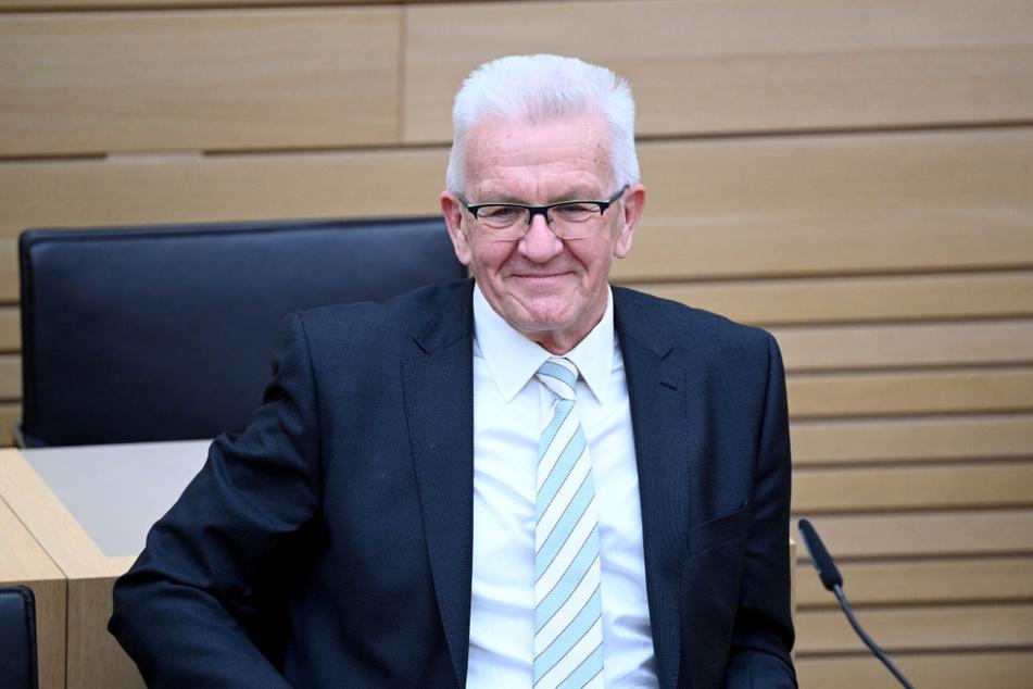 Ministerpräsident Winfried Kretschmann (72, Grüne) am Wahlabend in Stuttgart.