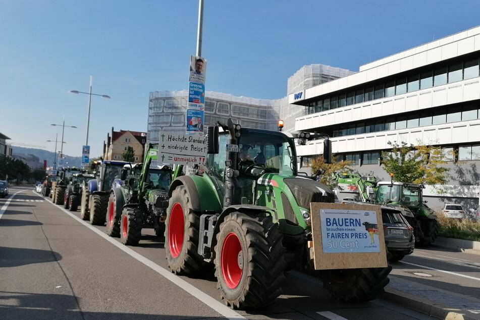 Durch den Streik der Bauern kam es in Stuttgart zu erheblichen Verkehrsproblemen.