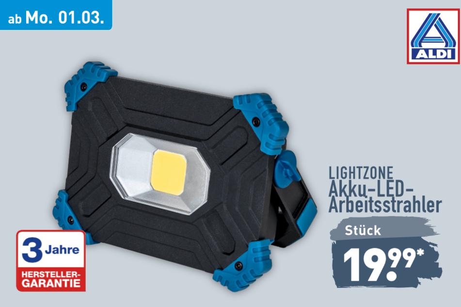 Akku-LED-Arbeitsstrahler von Lightzone ab Montag für 19,99 Euro bei ALDI in Genthin