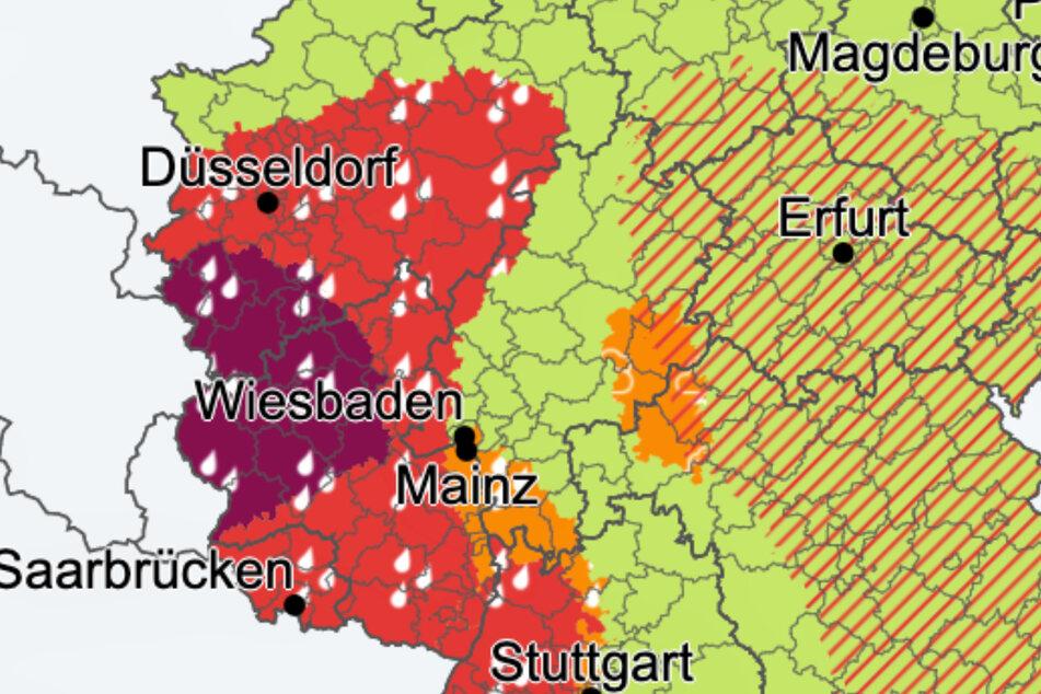 Die Farbe Orange steht für eine Warnung der Stufe 2 (markantes Wetter), die Farbe Rot für Stufe 3 (Unwetterwarnung), die Farbe Lila für Stufe 4 (Warnungen vor extremem Unwetter).