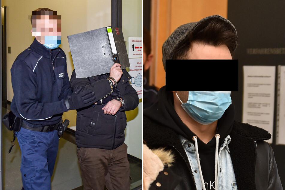 Mohammad F. (32, mit Ordner vor dem Gesicht) und Mohamed A. (24, r.) stehen vor Gericht.