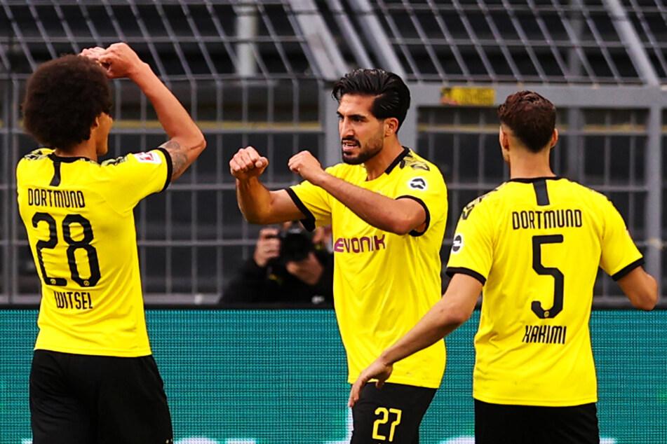 Emre Can (M.) erlöste Borussia Dortmund gegen Hertha BSC mit seinem Tor zum 1:0 gegen.