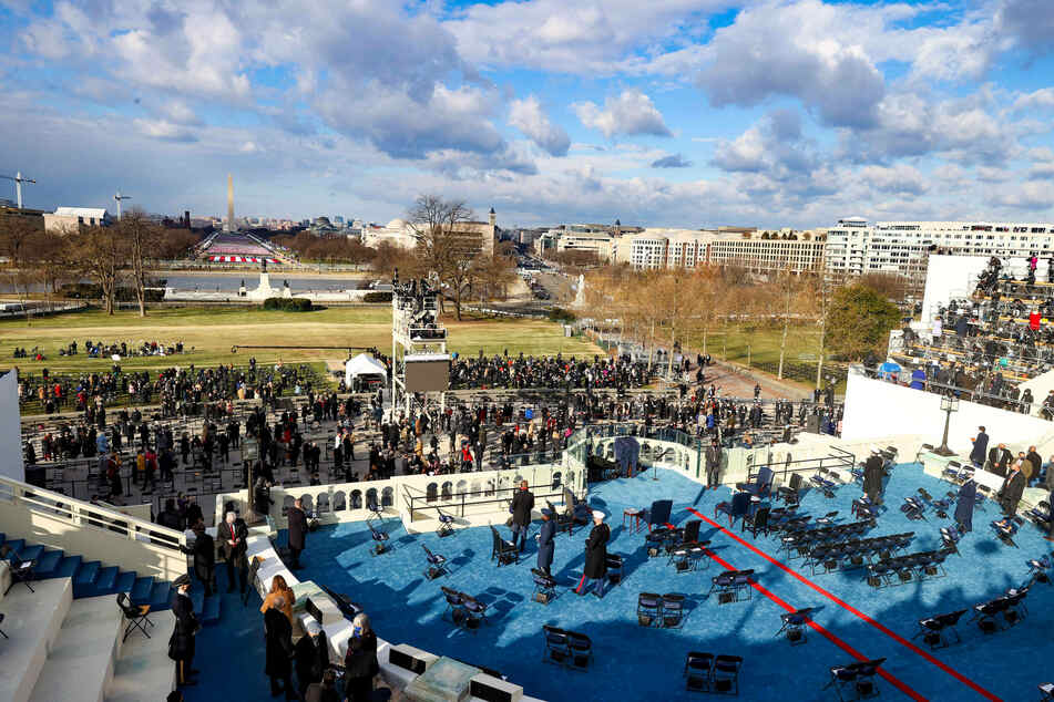A general view as attendees arrive ahead of the inauguration of President-elect Joe Biden on the West Front of the US Capitol.