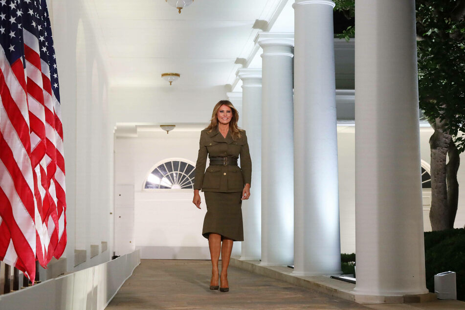 First Lady Melania Trump proudly announced the completion of a pavilion for the White House tennis court.
