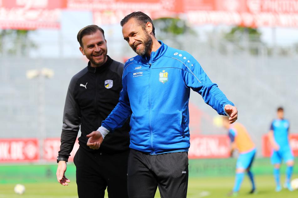 René Klingbeil (l.) und Christian Tiffert (r.) vor dem Spiel.