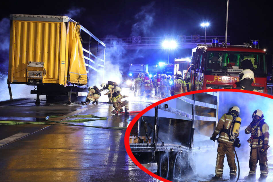Feuerwehreinsatz auf der A17: Laster bei Dresden-Gorbitz in Flammen