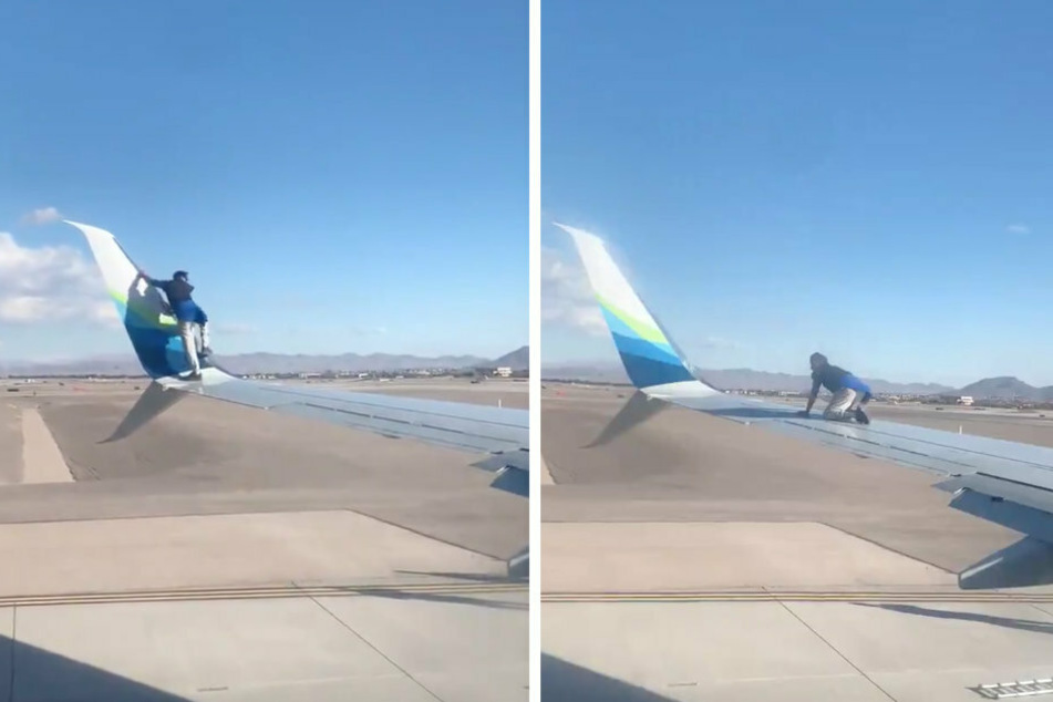 Shortly before take-off, a man climbed onto the wing of the plane (collage).