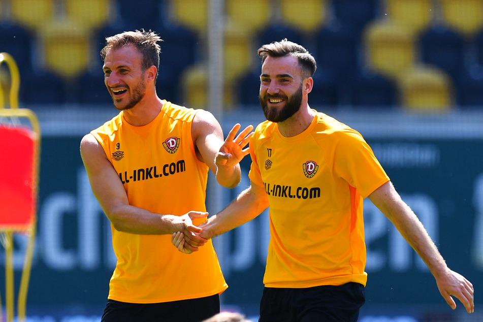 """Herzlich willkommen im Team"": Pascal Sohm (29, l.) begrüßt Morris Schröter (25)."
