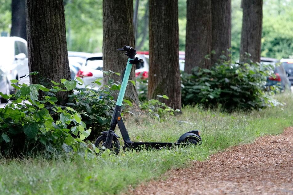 Unschön: Ein Roller, der einfach im Gras geparkt wurde.