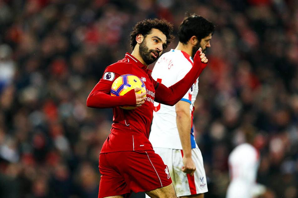 Erzielte einen Doppelpack: Liverpools Mohamed Salah (l.).