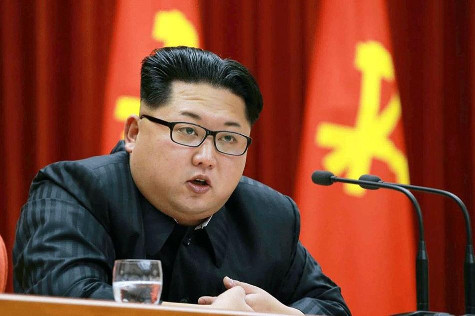 Ein Foto vom 12. Januar 2016, herausgegeben von Nordkoreas staatlicher Zeitung Rodong Sinmun, zeigt den nordkoreanischen Machthaber Kim Jong Un auf einer Veranstaltung des Zentralkomitees der Arbeiterpartei.