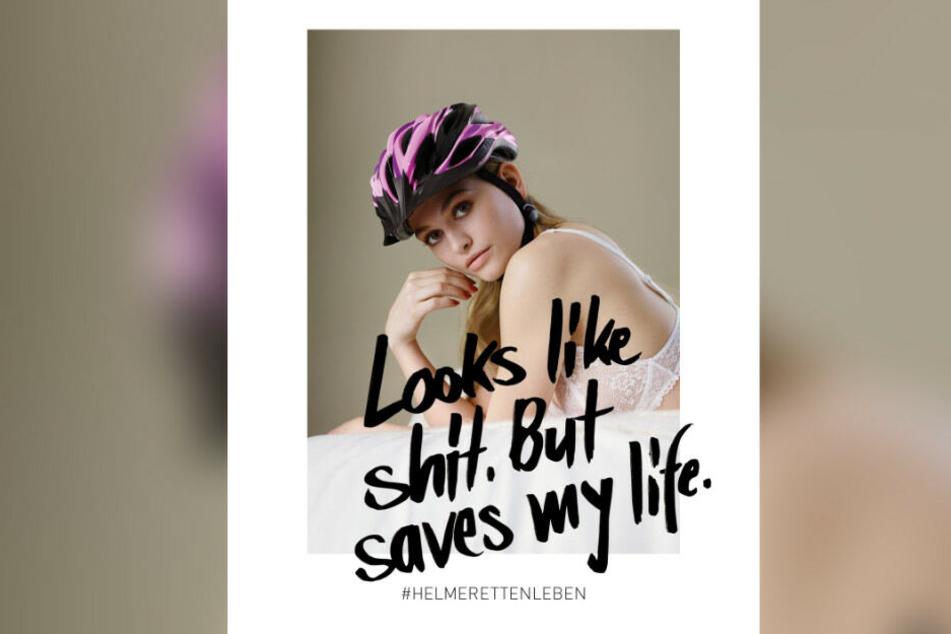 """Die Germany's Next Topmodel-Kandidatin Alicia als Gesicht der Kampagne """"Looks like shit. But saves my life"""" wirbt für das Tragen eines Fahrradhelms."""