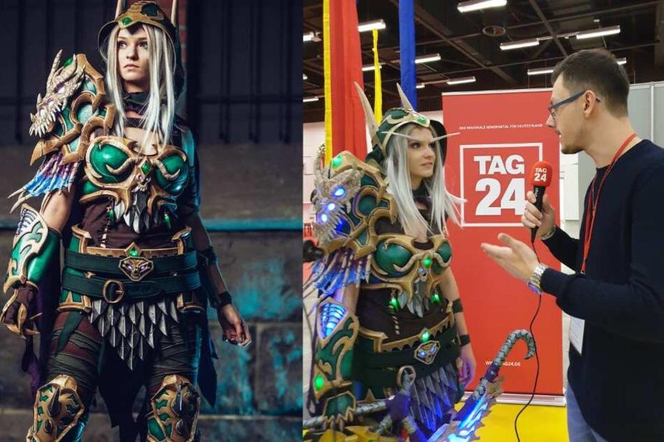 """Cosplayerin """"mita.010"""" gewann mit ihrem World of Warcraft-Kostüm den Cosplay-Wettbewerb auf der Messe und stand TAG24-Redakteur David Frey im Interview Rede und Antwort."""