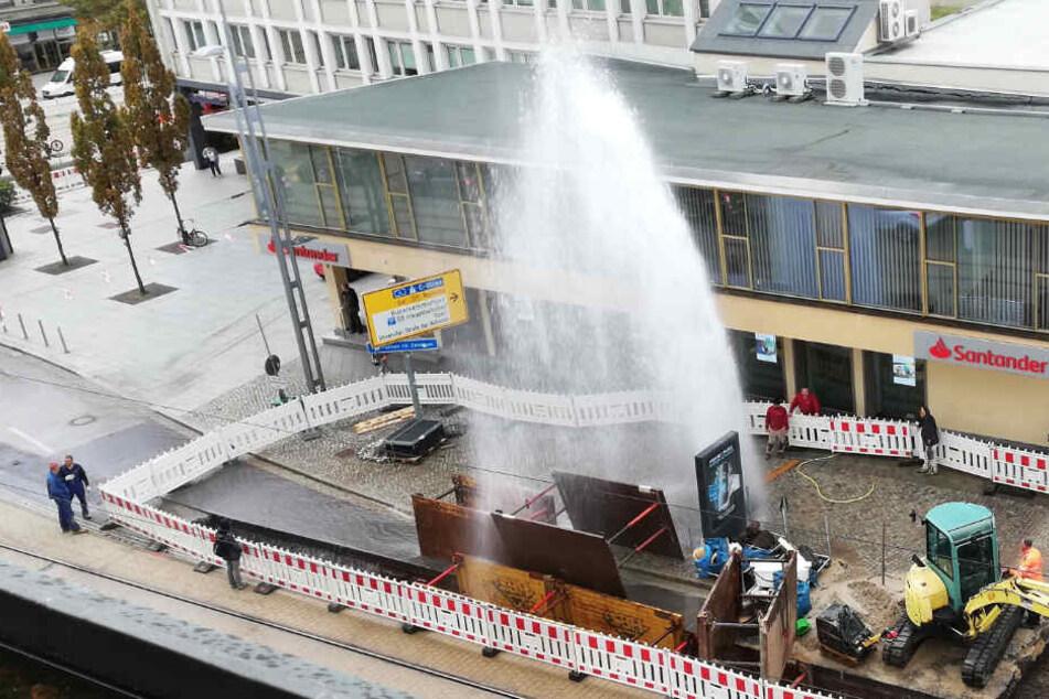 Mega-Fontäne in der Chemnitzer City: Was ist hier passiert?
