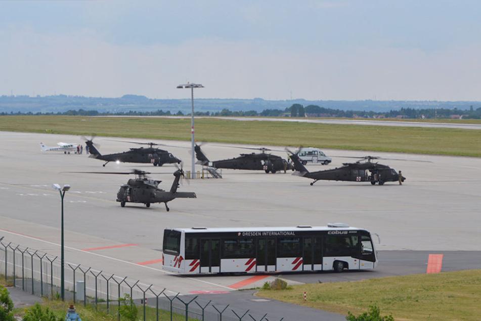 Diese vier US Marine Corps Medevac Helis landeten am Mittwoch in Klotzsche.