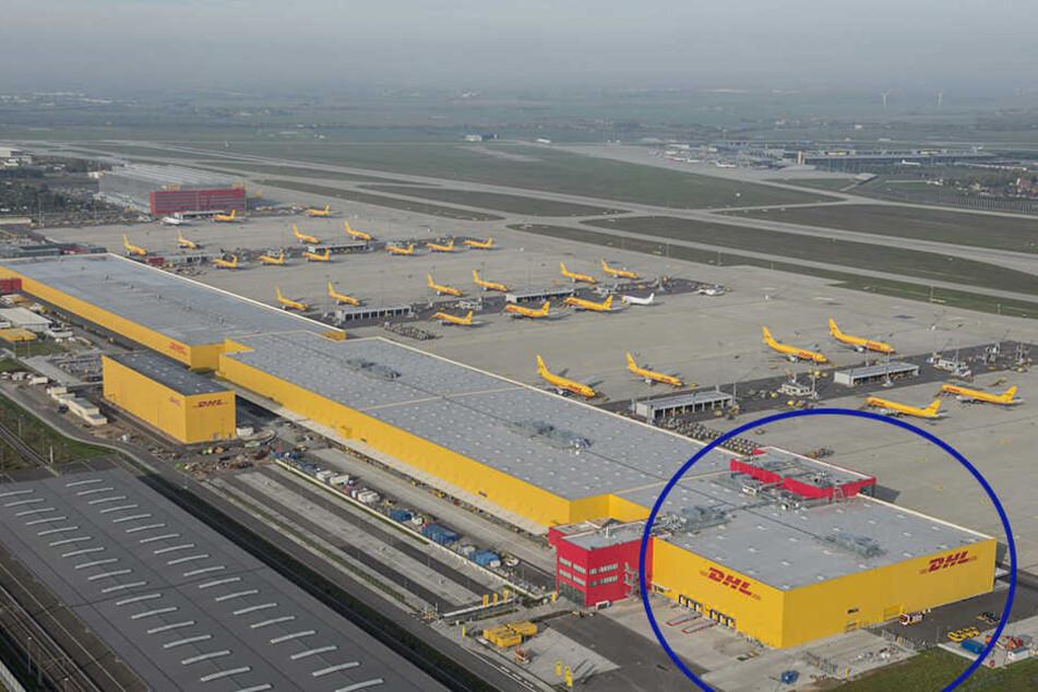 Die 230-Millionen-Investition: Um diesen Teil (Kreis) wurde das DHL-Luftdrehkreuz erweitert.