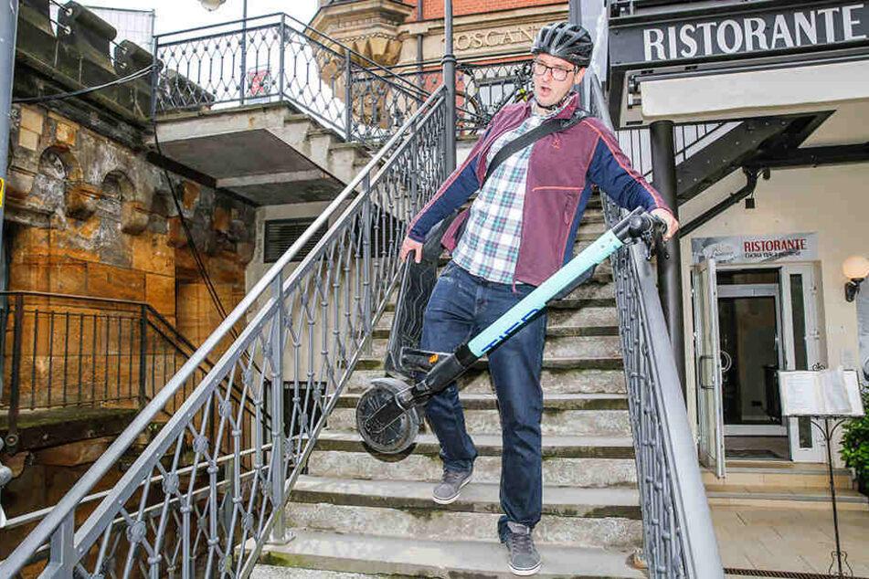 Achtung: Bei Treppen hilft nur Roller tragen. Mit fast 20 Kilo kann das anstrengend werden.