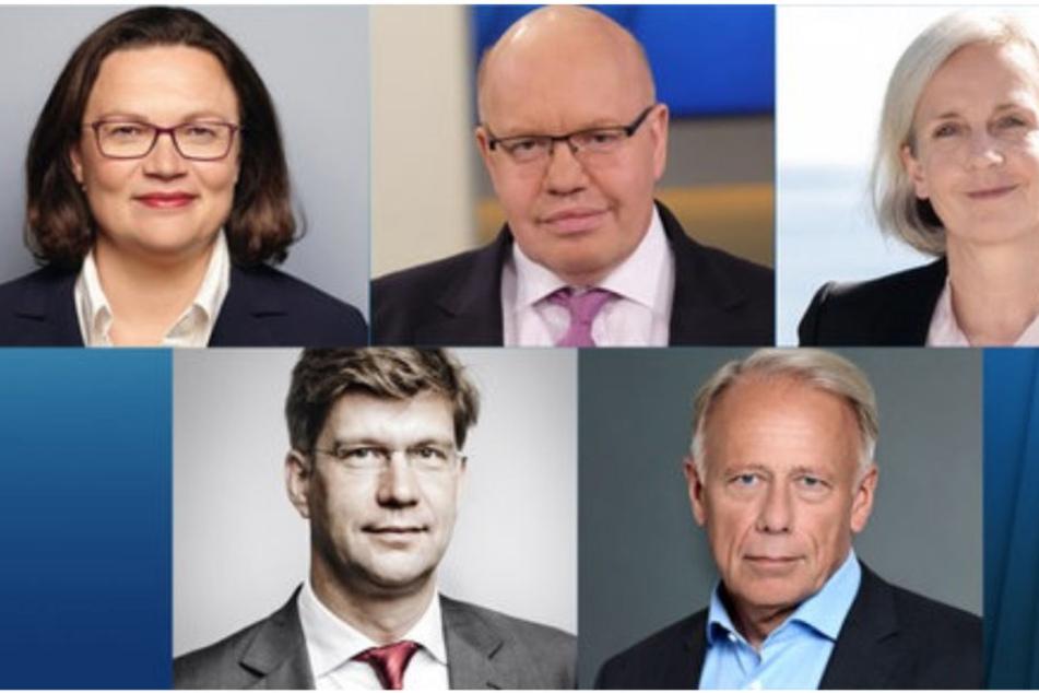 Die Gäste am 11.11.: Andrea Nahles, Peter Altmaier, Jürgen Trittin, Ursula Münch und Christoph Schwennicke.