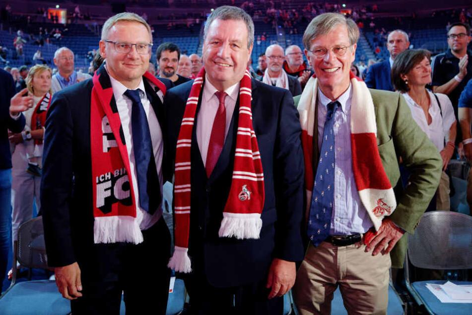 Bei der Mitgliederversammlung des 1. FC Köln am 8. September wurden die Vorstände Werner Wolf (m), Jürgen Sieger (l.) und Eckhard Sauren (r) gewählt.