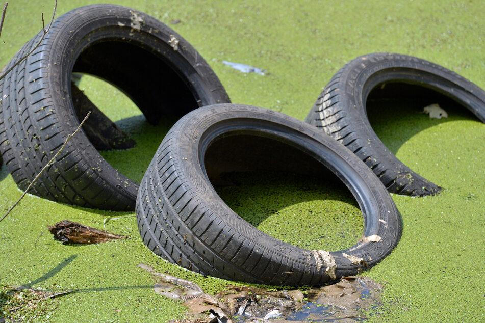 Auch Autoreifen werden immer wieder illegal in der Umwelt entsorgt. (Archivbild)
