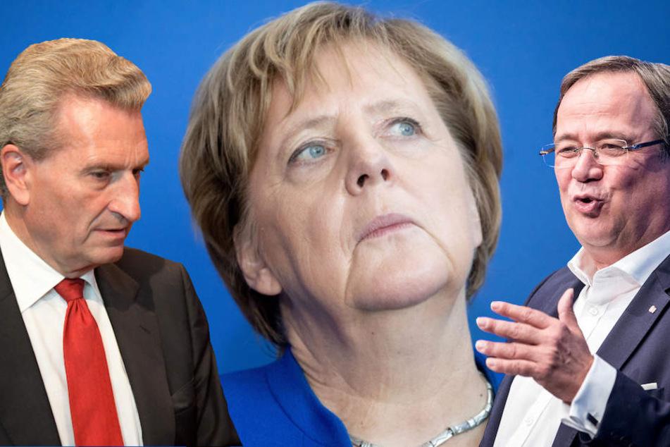 Auch Günther Oettinger (65) und Armin Laschet (57) stehen hinter Merkel. (Bildmontage)
