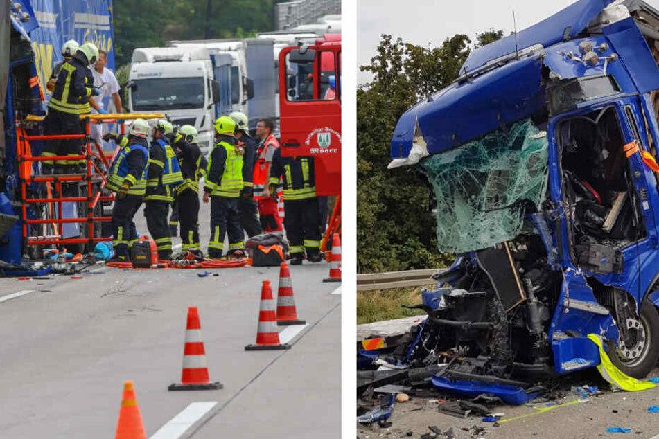 Lkw rast mit voller Geschwindigkeit in Stauende, vier Verletzte