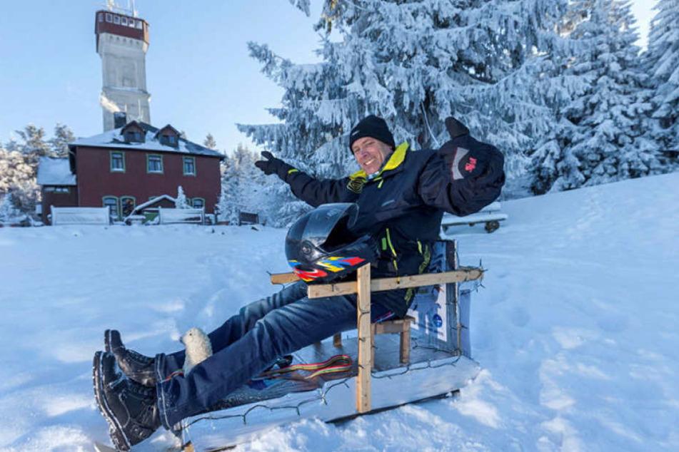 Organisator Till Schwabe (54) kam 2013 auf die Idee, mit Hitschen einen Berg  hinabzurasen.